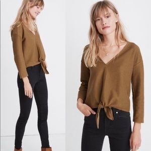 Madewell Texture & Thread Ribbed Tie Front Top